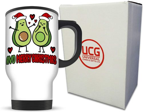 14oz AVO Merry Christmas Cute Avocado Novelty Aluminium Travel Mug